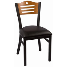 Eagle Series Wood Back Armless Chair with Steel Frame and Vinyl Seat - Cherry