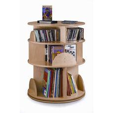 Three-Shelf Birch Laminate Multimedia Carousel