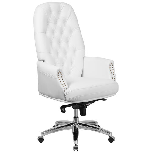 Our High Back Traditional Tufted White LeatherSoft Multifunction Executive Swivel Ergonomic Office Chair with Arms is on sale now.