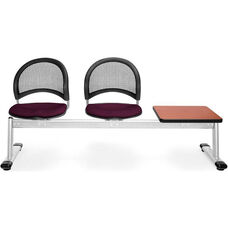 Moon 3-Beam Seating with 2 Burgundy Fabric Seats and 1 Table - Cherry Finish