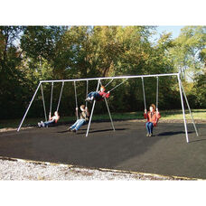 Four Seat Primary Bipod Swing Set with Galvanized Swing Chains and Thirteen Gauge Steel Frame - 120''H