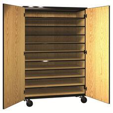 Denali 1000 Series Mobile Tote Tray Storage w/ Doors & 10 Shelves