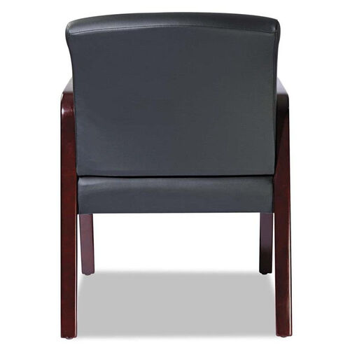 Alera® Reception Lounge Series Guest Chair - Mahogany/Black Leather