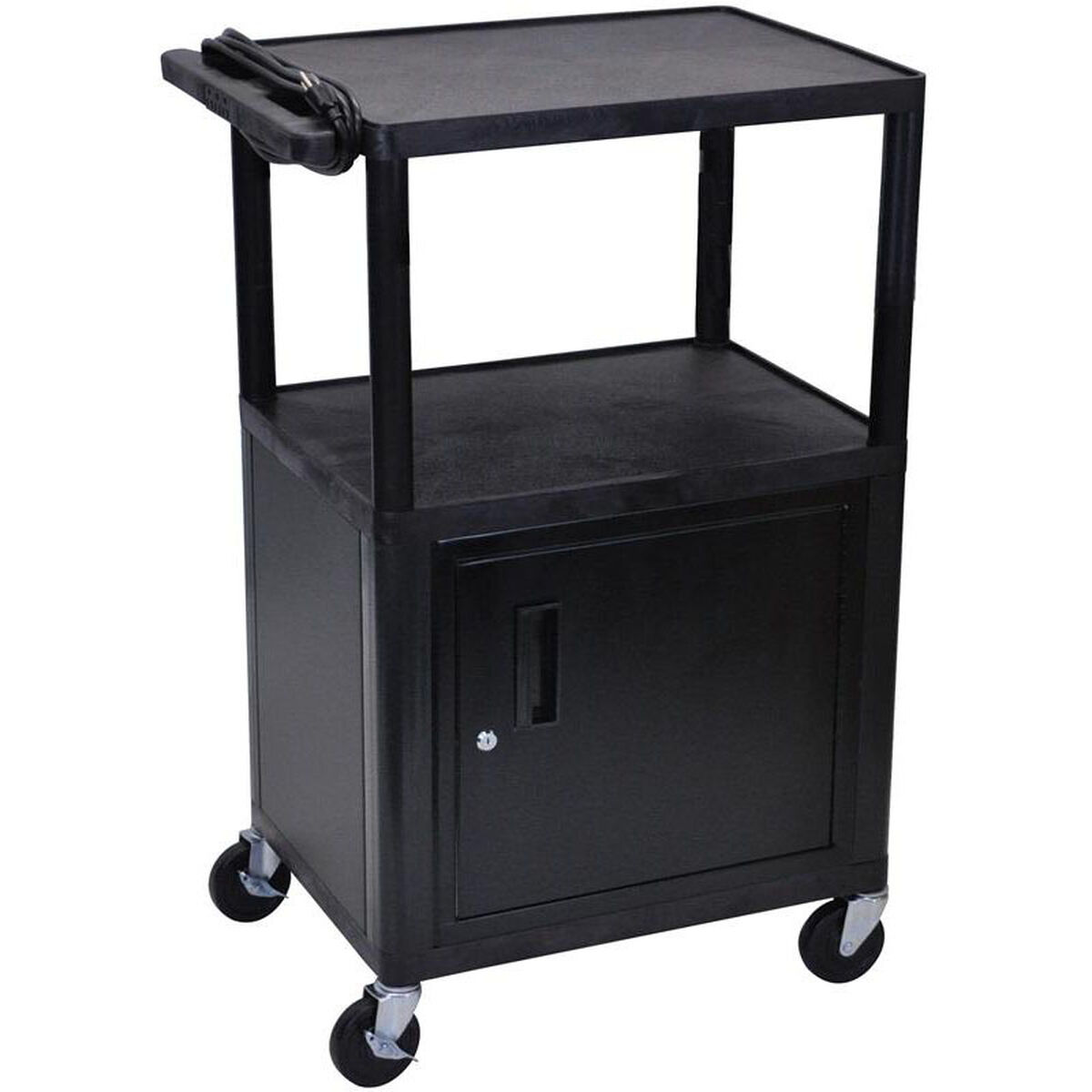 Luxor 3 shelf high open a v utility cart with locking for Furniture 4 less outlet