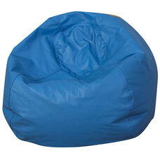 Blue 35'' Round Classic Vinyl Bean Bag with Double Stitched Seams