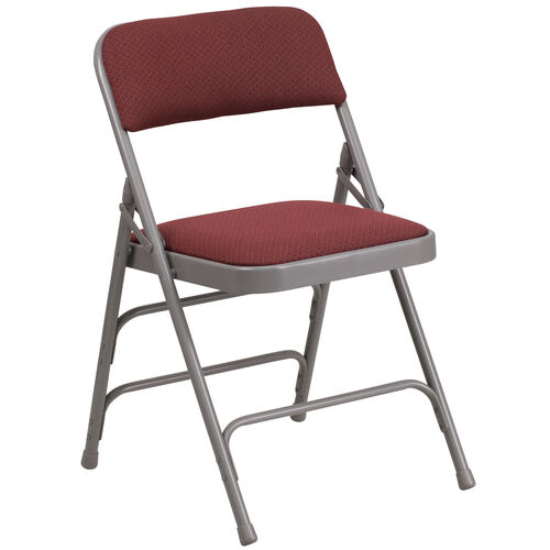 Our HERCULES Series Curved Triple Braced & Double Hinged Burgundy Patterned Fabric Metal Folding Chair is on sale now.