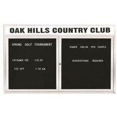 2 Door Indoor Illuminated Enclosed Directory Board with Header and White Anodized Aluminum Frame - 36