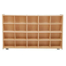 Contender Wooden Tray Storage Unit with 20 Lime Green Plastic Trays - Assembled with Casters - 46.75