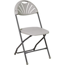 Work Smart Plastic Folding Chair - Set of 4 - Grey