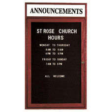 1 Door Enclosed Changeable Letter Board with Header and Cherry Finish - 24