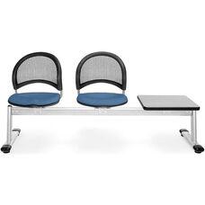 Moon 3-Beam Seating with 2 Cornflower Blue Fabric Seats and 1 Table - Gray Nebula Finish