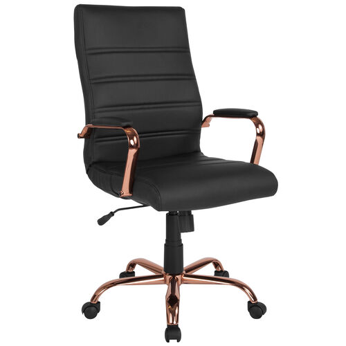 Our High Back Black Leather Executive Swivel Office Chair with Rose Gold Frame and Arms is on sale now.