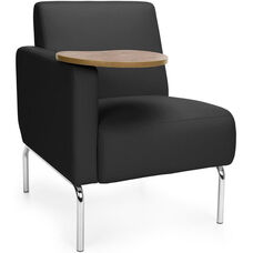 Triumph Right Arm Modular Lounge Chair with Tablet Vinyl Seat and Chrome Feet - Black Seat with Bronze Finish Tablet