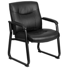 HERCULES Series Big & Tall 500 lb. Rated Black Leather Executive Side Reception Chair with Sled Base