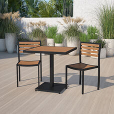 Outdoor Patio Bistro Dining Table Set with 2 Chairs and Faux Teak Poly Slats