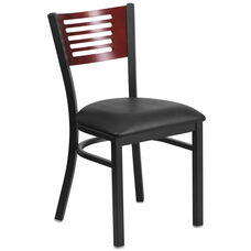 Black Decorative Slat Back Metal Restaurant Chair