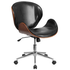 Mid-Back Walnut Wood Conference Office Chair in Black Leather