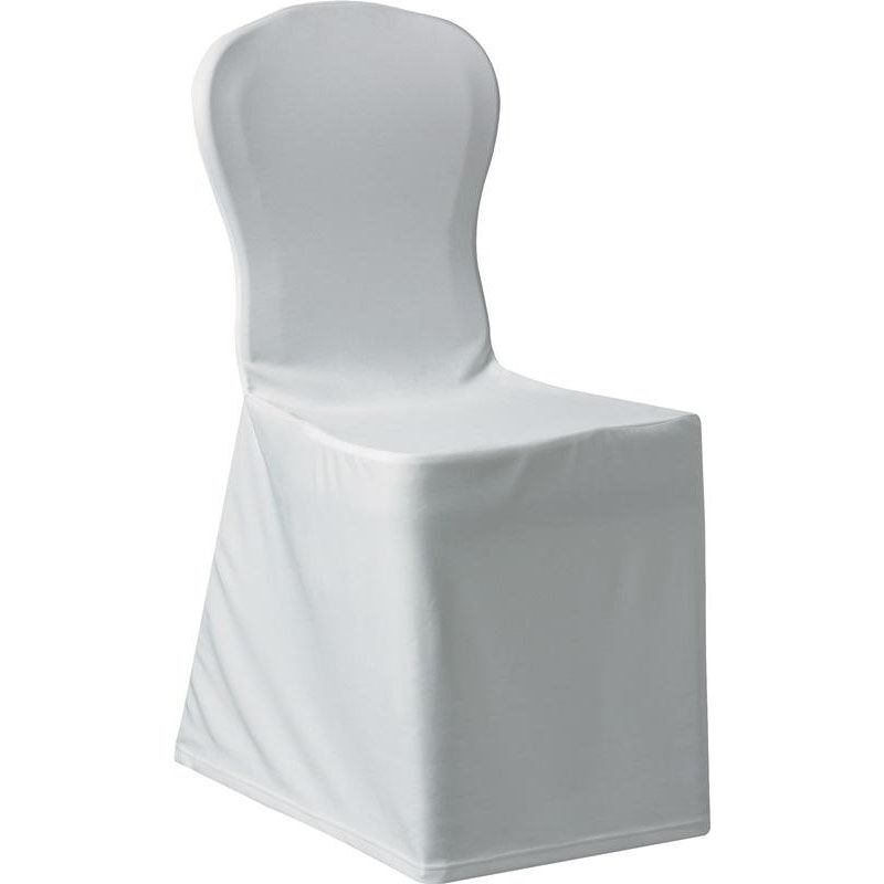 Silhouette II Banquet Polyester Chair Cover   White