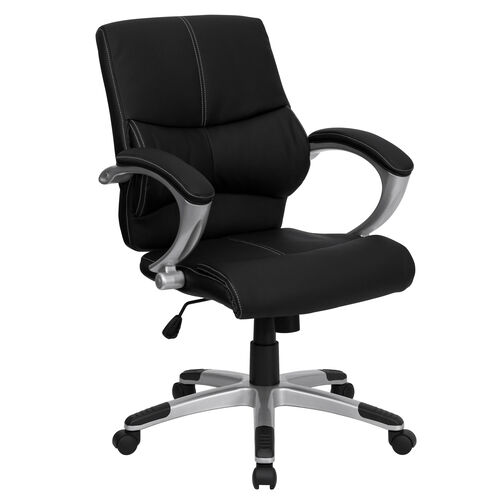 Our Mid-Back Black LeatherSoft Contemporary Swivel Manager