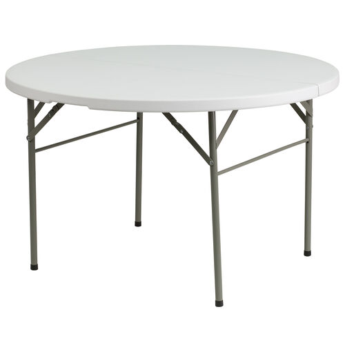 Our 4-Foot Round Bi-Fold Granite White Plastic Banquet and Event Folding Table with Carrying Handle is on sale now.
