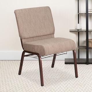 HERCULES Series 21''W Church Chair in Beige Fabric with Book Rack - Copper Vein Frame