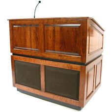Ambassador Wired 150 Watt Sound Multimedia Lectern - Walnut Finish - 30