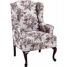 5275 Wing Chair with Tight Seat & Queen Anne Legs - Grade 1