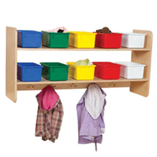 Our Wall Mountable Storage Shelf Unit with 5 Double Hooks and Ten Multi-Colored Trays - Assembled - 48