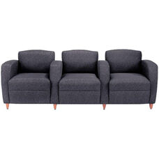 Quick Ship Accompany Three Seater Lounge with Wood Legs