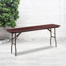 6-Foot Mahogany Melamine Laminate Folding Training Table
