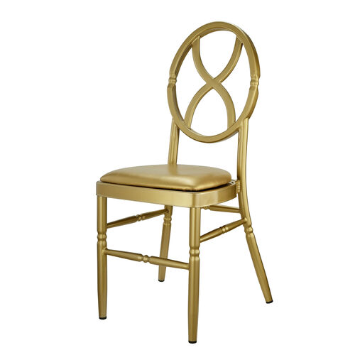 Our Velika Series Stackable Sand Glass Aluminum Dining Chair with Gold Vinyl Cushion - Gold is on sale now.