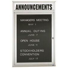 1 Door Indoor Enclosed Directory Board with Header and Aluminum Frame - 24