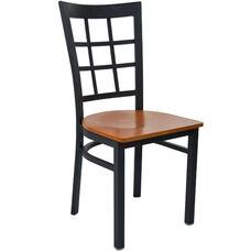 Advantage Black Metal Window Pane Back Chair - Cherry Wood Seat
