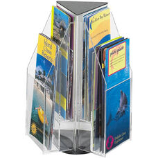 Reveal™ Rotating Tabletop Display Triangle Six Pamphlet - Clear