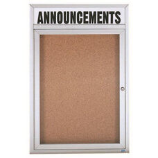 1 Door Indoor Enclosed Bulletin Board with Header and Aluminum Frame - 24