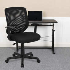 Mid-Back Black Mesh Tapered Back Swivel Task Office Chair with T-Arms