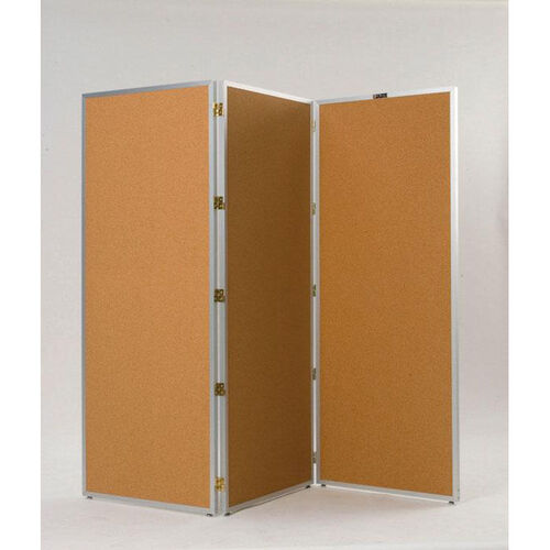 725 Series 3 Section Aluminum Frame Folding Screen with Tan Nucork Panels - 72