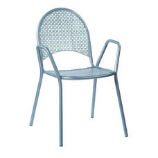 Work Smart Metal Stacking Chairs with Arms - Set of 2 - Grey
