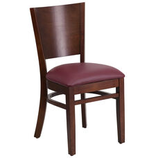 Walnut Finished Solid Back Wooden Restaurant Chair with Burgundy Vinyl Seat