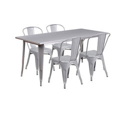 """Commercial Grade 31.5"""" x 63"""" Rectangular Silver Metal Indoor-Outdoor Table Set with 4 Stack Chairs"""