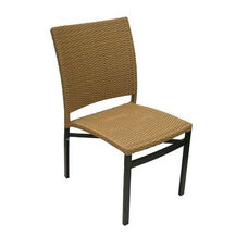 Oviedo Hand Polished Tubular Aluminum Stackable Side Chair - Cappuccino