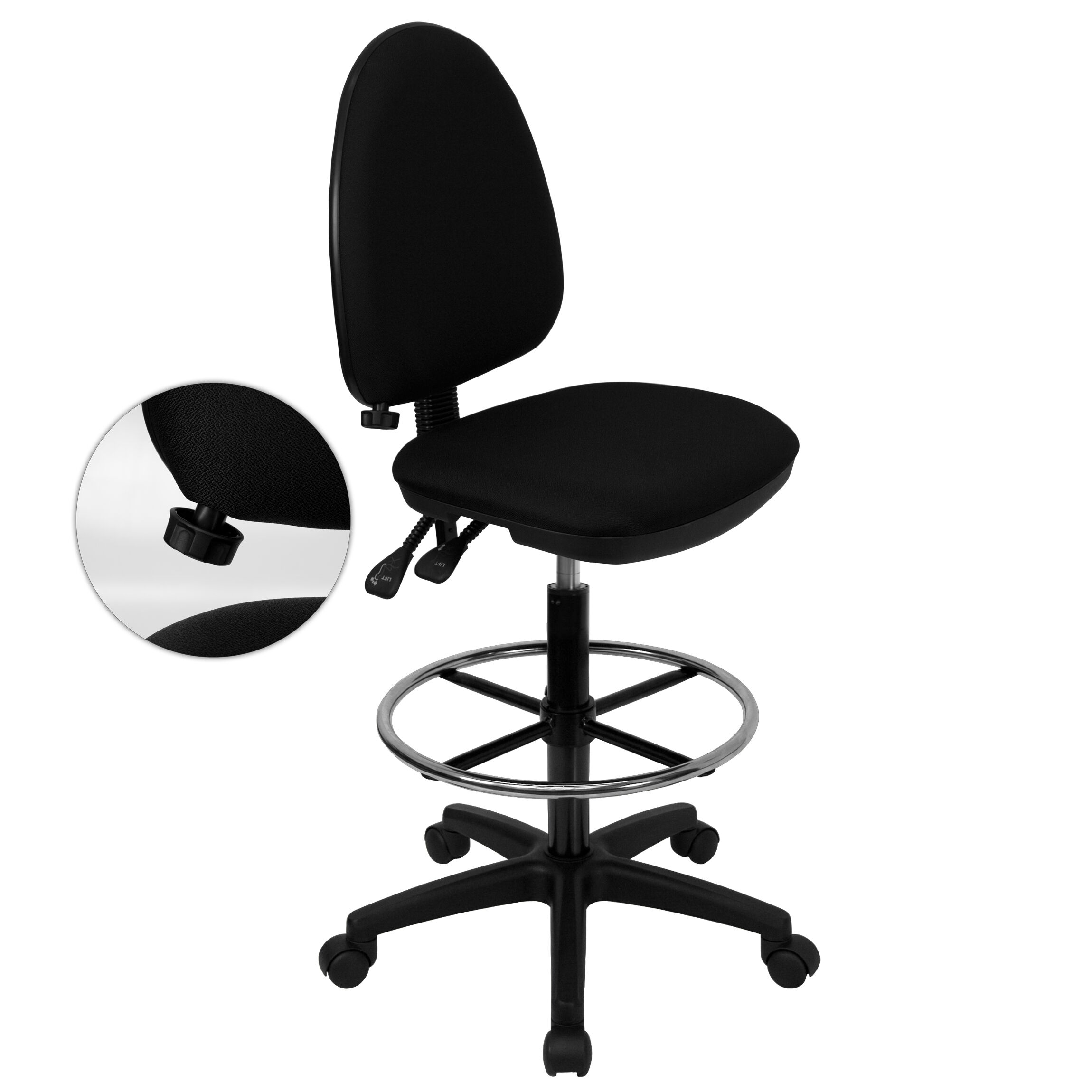 ... Our Mid Back Black Fabric Multifunction Drafting Chair With Adjustable  Lumbar Support Is On Sale ...