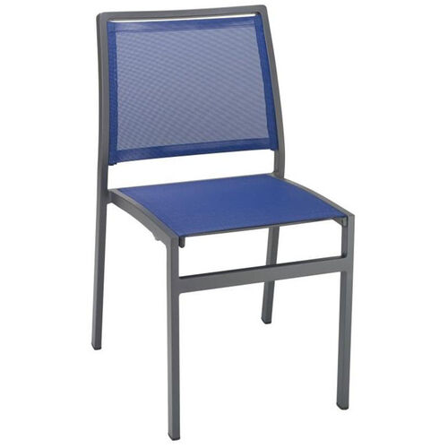 South Beach Collection Stackable Aluminum Outdoor Side Chair with Textile Back and Seat - Blue