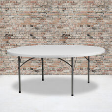 6-Foot Round Granite White Plastic Folding Table