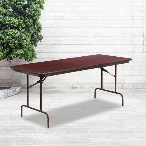 6-Foot High Pressure Mahogany Laminate Folding Banquet Table