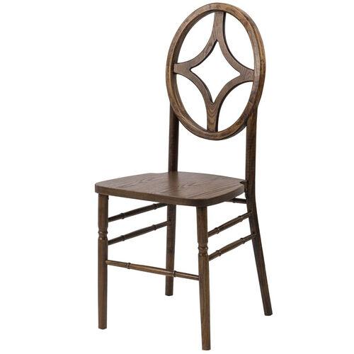 Veronique Series Stackable Diamond Wood Dining Chair - Dark Walnut