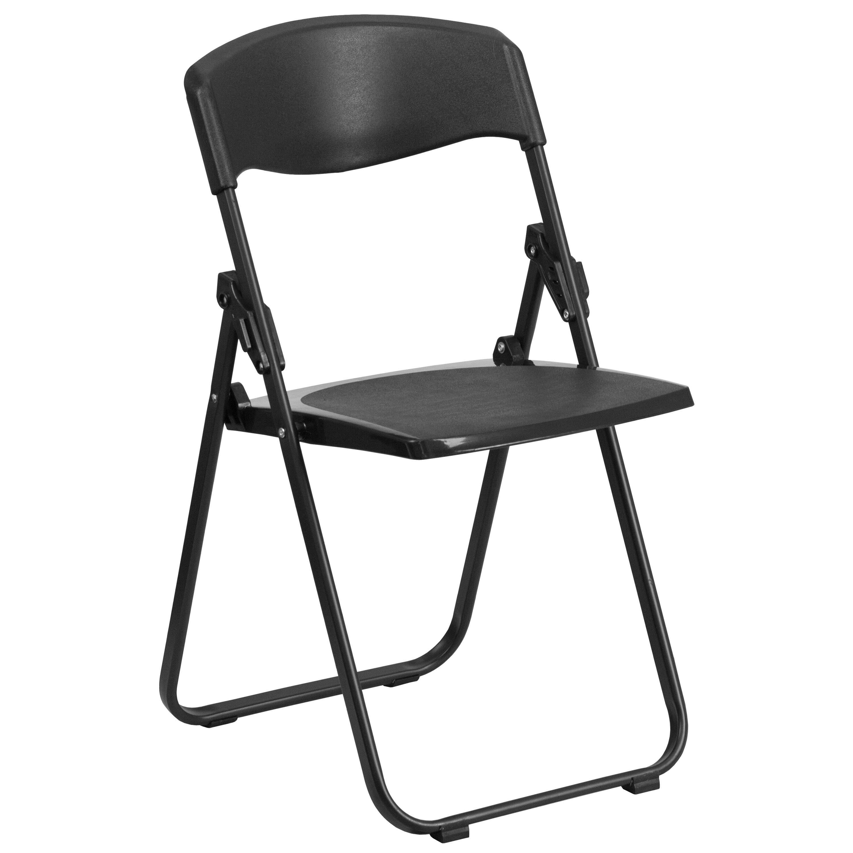 HERCULES Series 880 Lb. Capacity Heavy Duty Black Plastic Folding Chair  With Built In