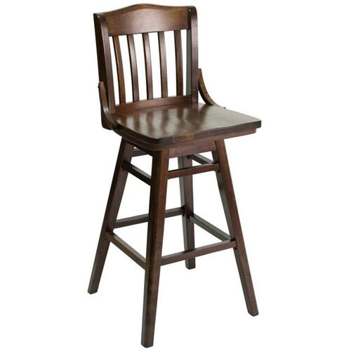 Our Classic Indoor Collection Beechwood Slat Full Back Barstool with Swivel Seat - Walnut is on sale now.