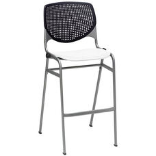 2300 KOOL Series Stacking Poly Armless Barstool with Black Perforated Back and White Seat