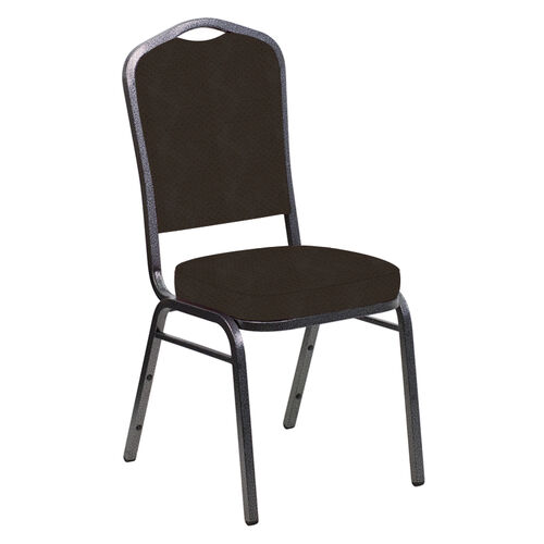 Our Embroidered Crown Back Banquet Chair in Neptune Chocolate Fabric - Silver Vein Frame is on sale now.